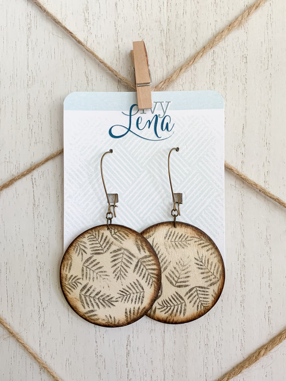 Handcrafted Print Transfer- Natural Wood Earrings