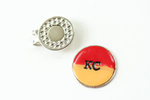 Handcrafted Polymer Clay- KC Golf ball Marker with Magnetic Visor Clip