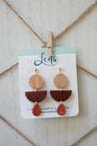 Handcrafted Polymer Clay and Natural Wood Earrings
