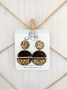 Handcrafted Leopard Print Transfer- Natural Wood Earrings
