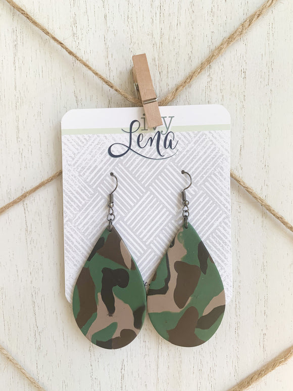 Handcrafted Polymer Clay Earrings-Camo