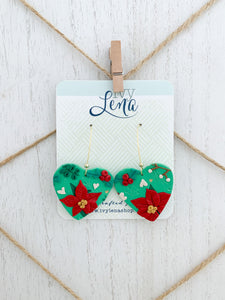 Handcrafted Polymer Clay Earrings- Holiday Floral