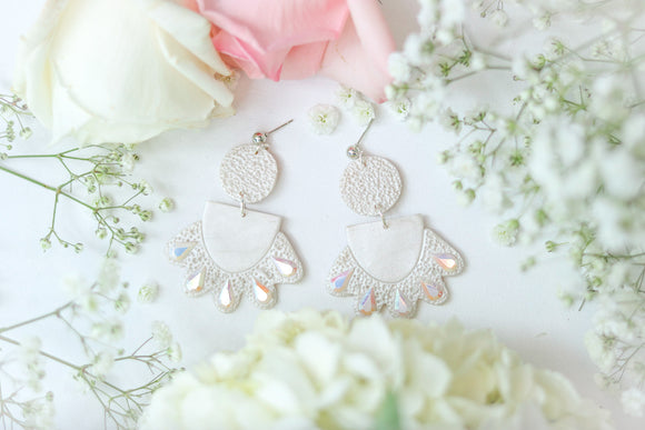 Handcrafted Polymer Clay Earrings- Bridal