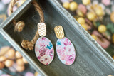 Handcrafted Polymer Clay Earrings- Floral Transfer