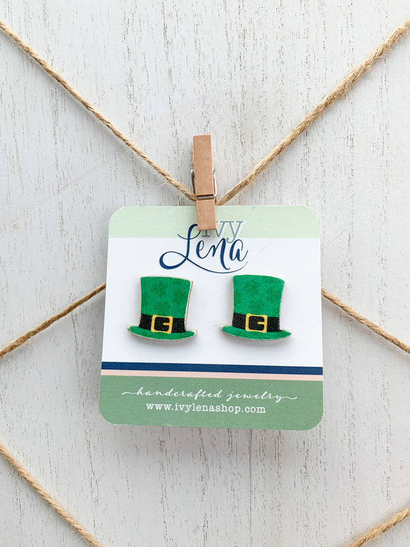 Handcrafted Print Transfer- Wood Earrings- St. Patrick's Day