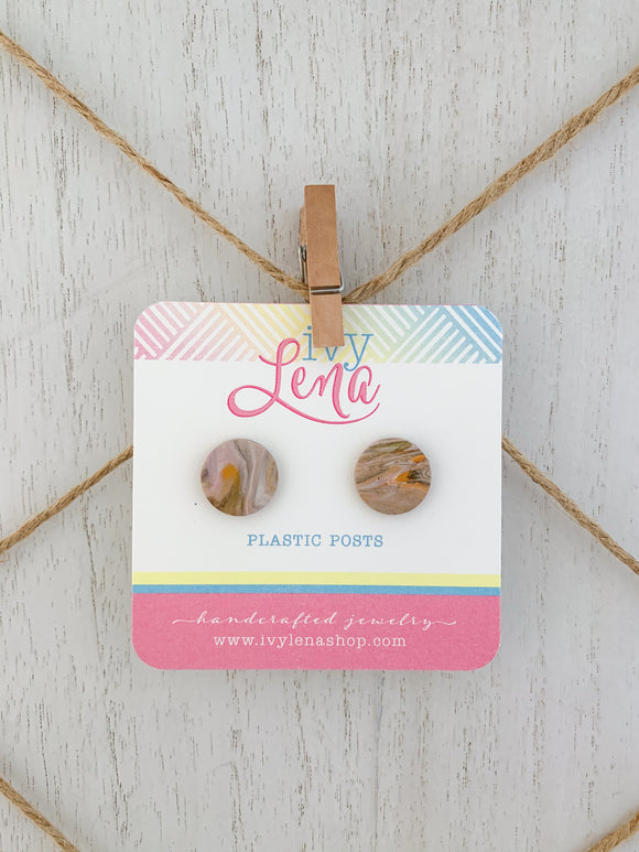 Handcrafted Polymer Clay Stud Earrings-Plastic Posts