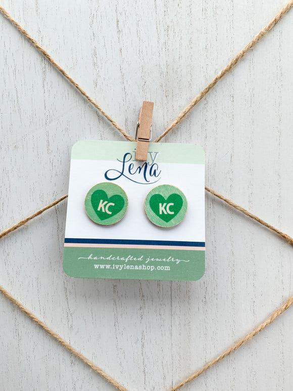 Handcrafted Print Transfer- Wood Earrings- KC