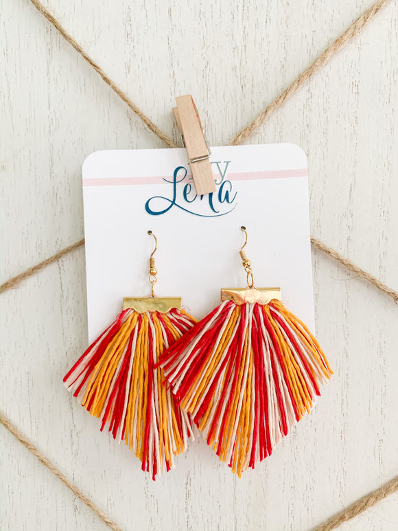 Handcrafted Fringe Earrings- Chiefs