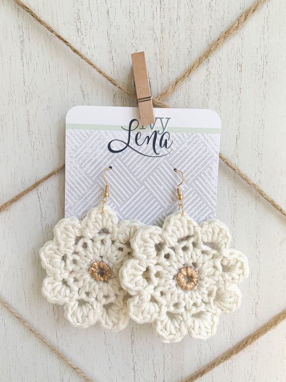Handcrafted Crocheted Earrings- Cotton Yarn