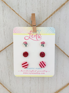 Handcrafted Polymer Clay 3 Pack Stud Earrings-Plastic Posts
