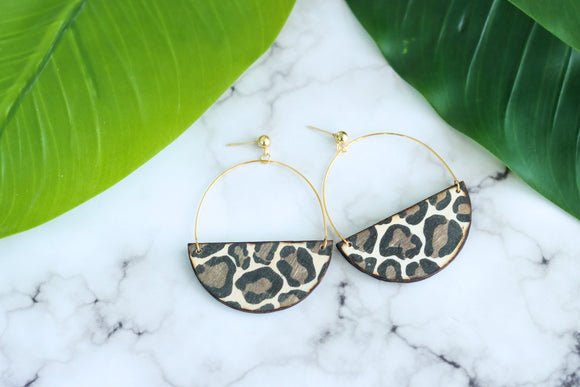 Handcrafted Leopard Print Transfer- Wood Earrings