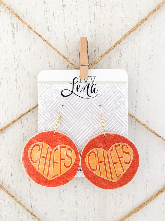 Handcrafted Print Transfer- Natural Wood Earrings- Chiefs
