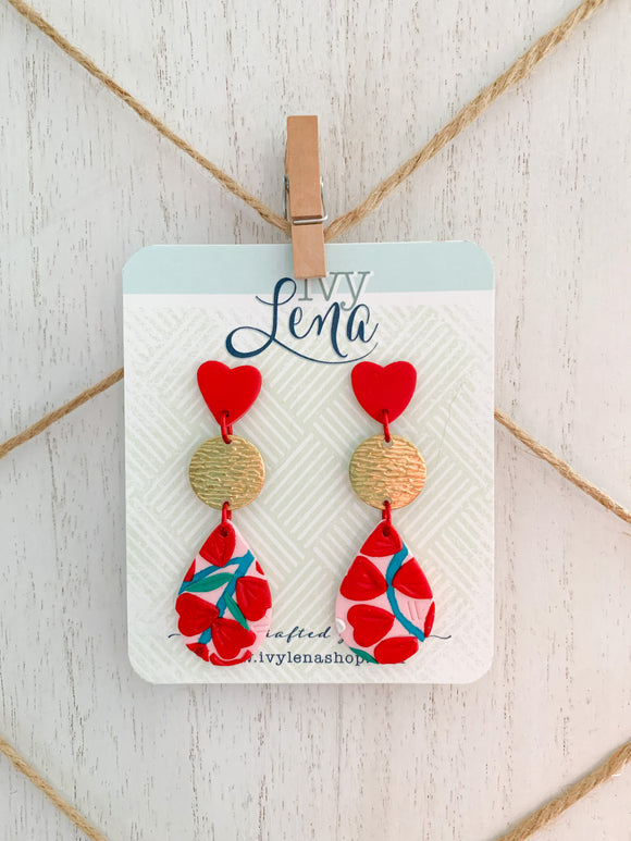 Handcrafted Polymer Clay Earrings- Valentine's Day Floral