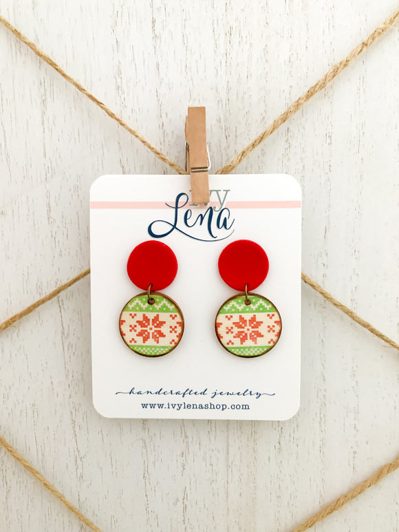 Handcrafted Polymer Clay and Natural Wood Holiday Earrings