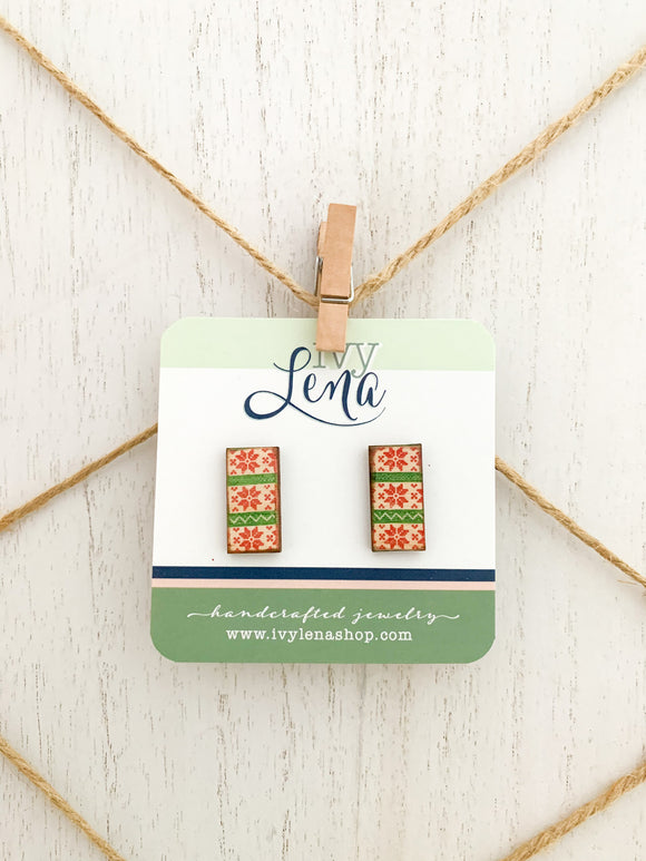 Handcrafted Print Transfer- Natural Wood Holiday Earrings