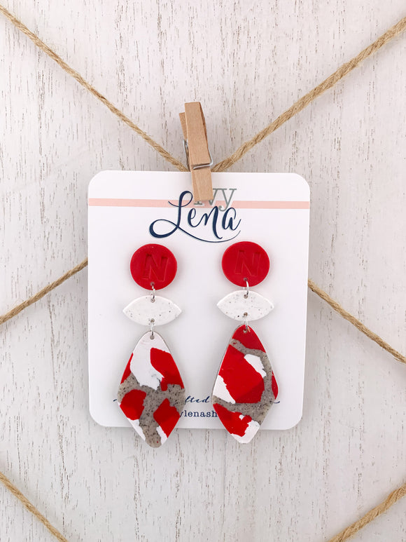 Handcrafted Polymer Clay Earrings- UNL