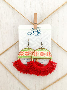 Handcrafted Print Transfer and Macramé - Natural Wood Holiday Earrings