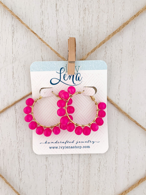 Handcrafted Beaded Earrings- Hoops