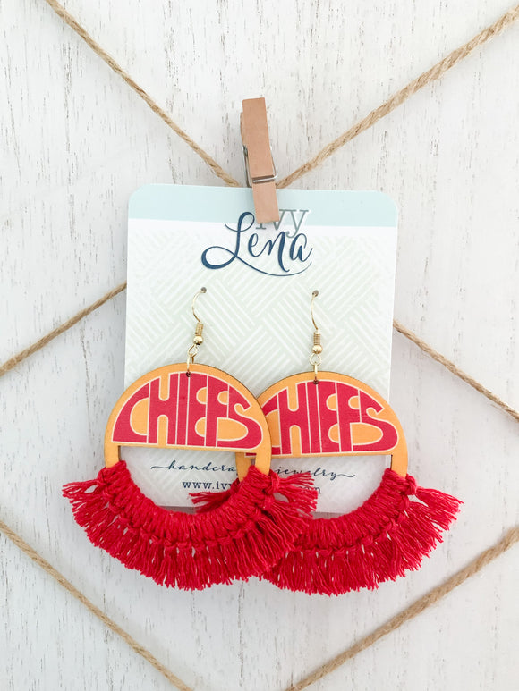 Handcrafted Print Transfer and Macramé - Wood Earrings- Chiefs
