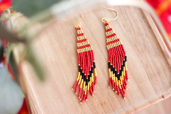 Handcrafted Beaded Fringe Earrings -Chiefs