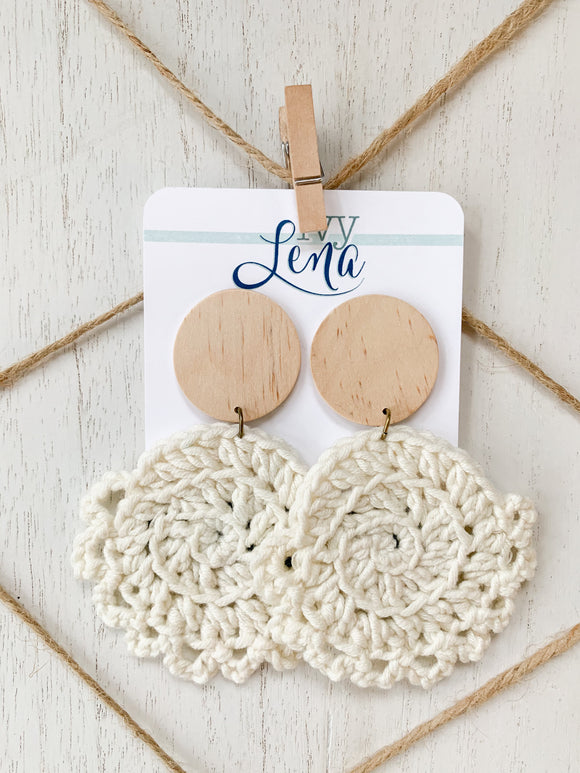 Handcrafted Crocheted Earrings- Cotton Yarn and Wood
