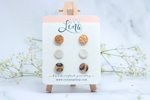 Handcrafted Polymer Clay 3 Pack Stud Earrings