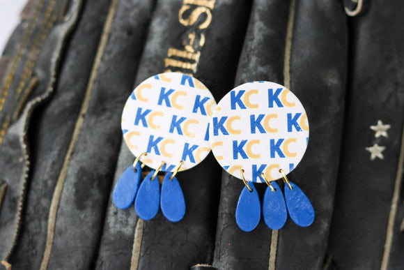 Handcrafted Polymer Clay Earrings- Graphic Transfer- Royals