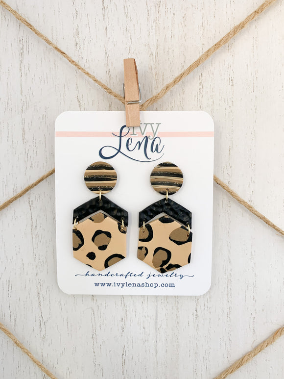 Handcrafted Polymer Clay Earrings-Leopard Print