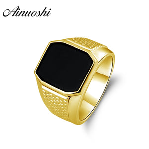 AINUOSHI 14K Black Agate Polygonal Ring 14K Solid Yellow Gold Solitaire Men Ring Wedding Band Engagement Gold Jewelry Male Band