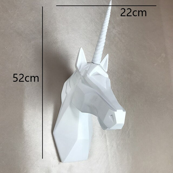 Creative Wall Hanger Craft 3D Stereo Resin Geometric Polygon Unicorn Porch Wall Hanging Ornaments Murals Decoration Gifts