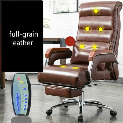Office Chair Full-grain Leather Reclining Office Gaming Chair Split Leather Silla Oficina Home Swivel Lifting Computer Chaise