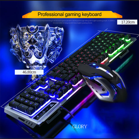 Keyboards And Mouse English RGB LED Light Illuminated Backlit Gaming Keyboard Mechanical Similar Ergonomic  For PC Gamer