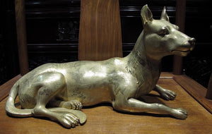 Chinese Royal purple Bronze Copper 24K Gold Gilt Crane Wolfhound wolf dog Statue