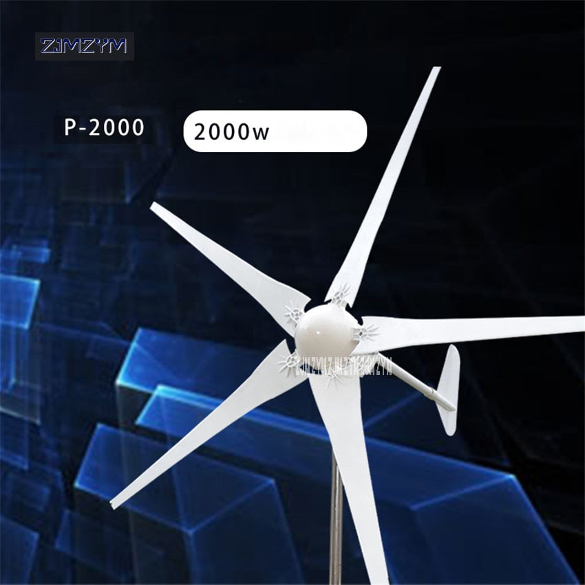 2000 Wind Turbine with 5 Blades+Wind Controller Power Generator -Land and Marine