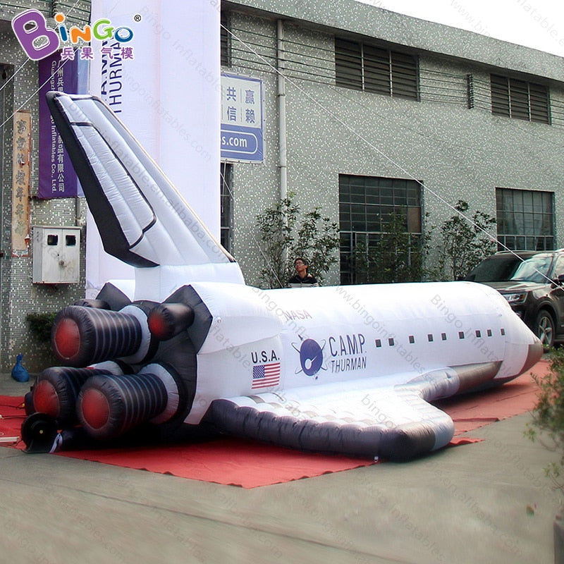 High quality 8 Meters long giant inflatable Space Shuttle customized digital printed blow up spaceship model toys