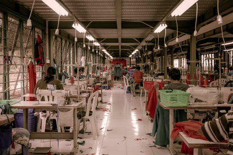 apparel factory interior with sewing machines