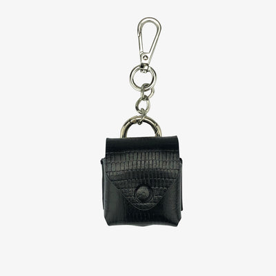 Leather AirPod Case Cover + Keychain, Black Lizard - HYER GOODS