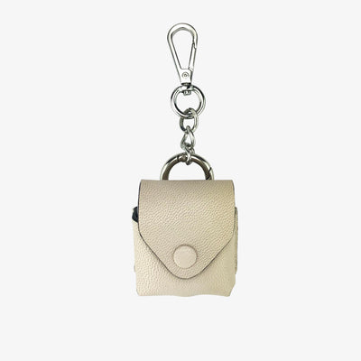 AirPod Keychain Ecru - HYER GOODS- sustainable leather - designed by Dana Cohen in Brooklyn New York