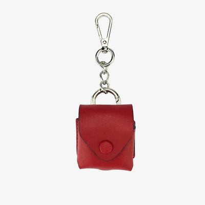 Leather AirPod Case Cover + Keychain, Classic Red,AirPod Case Cover + Keychain - HYER GOODS- recycled leather sustainable fashion accessory perfect for the zero waste lifestyle