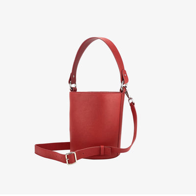 Mini Bucket Bag Classic Red - HYER GOODS- sustainable leather - designed by Dana Cohen in Brooklyn New York