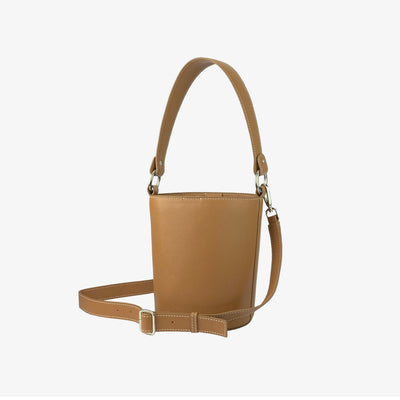 Mini Bucket Bag Tan,Bucket Bag - HYER GOODS- recycled leather sustainable fashion accessory perfect for the zero waste lifestyle