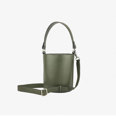 Mini Bucket Bag Tipped Olive - HYER GOODS- sustainable leather - designed by Dana Cohen in Brooklyn New York