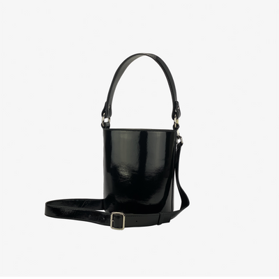 Mini Bucket Bag Black Patent,Bucket Bag - HYER GOODS- recycled leather sustainable fashion accessory perfect for the zero waste lifestyle