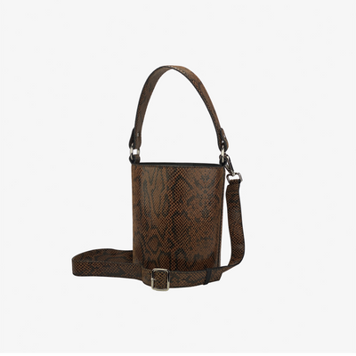 Mini Bucket Bag Amber Python,Bucket Bag - HYER GOODS- recycled leather sustainable fashion accessory perfect for the zero waste lifestyle