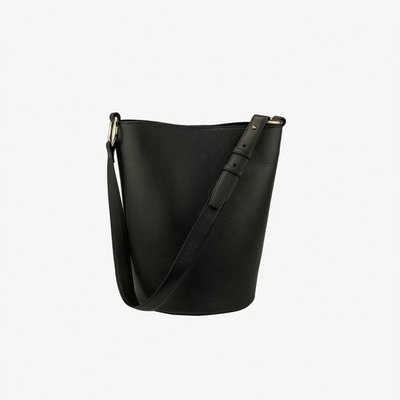 Bucket Bag Black,Bucket Bag - HYER GOODS- recycled leather sustainable fashion accessory perfect for the zero waste lifestyle