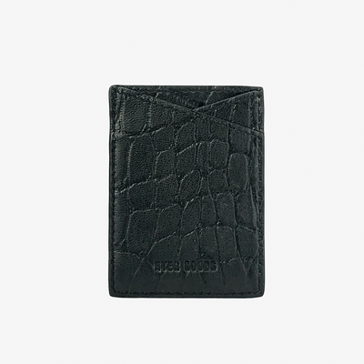 Leather Sticker Phone Wallet Black Croc - HYER GOODS- sustainable leather - designed by Dana Cohen in Brooklyn New York