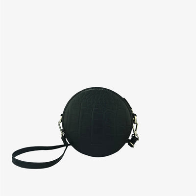 Circle Bag Black Croc,Convertible Purse - HYER GOODS- recycled leather sustainable fashion accessory perfect for the zero waste lifestyle