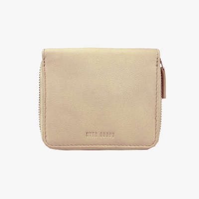 Zip Wallet Bone - HYER GOODS- sustainable leather - designed by Dana Cohen in Brooklyn New York