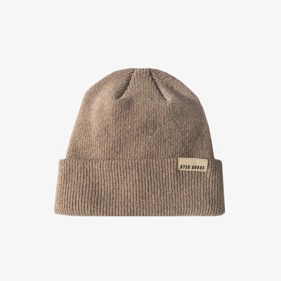 A BETTER BEANIE- HEATHER OATMEAL,Beanie - HYER GOODS- recycled leather sustainable fashion accessory perfect for the zero waste lifestyle
