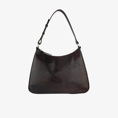 HOBO SHOULDER BAG CHOCO LIZARD,Shoulder Bag - HYER GOODS- recycled leather sustainable fashion accessory perfect for the zero waste lifestyle